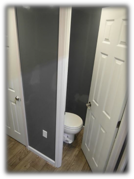 Toilet inside Restrooms trailer