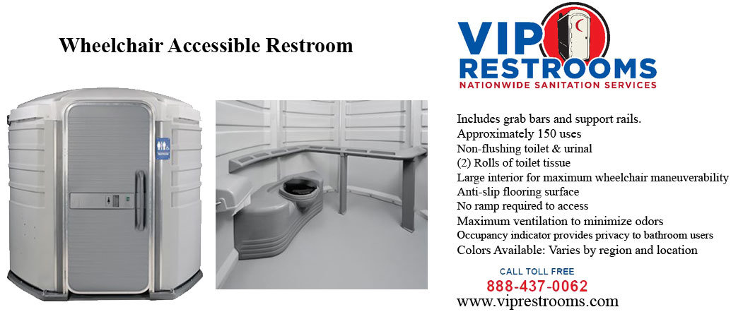 description Wheelchair accessible porta potty