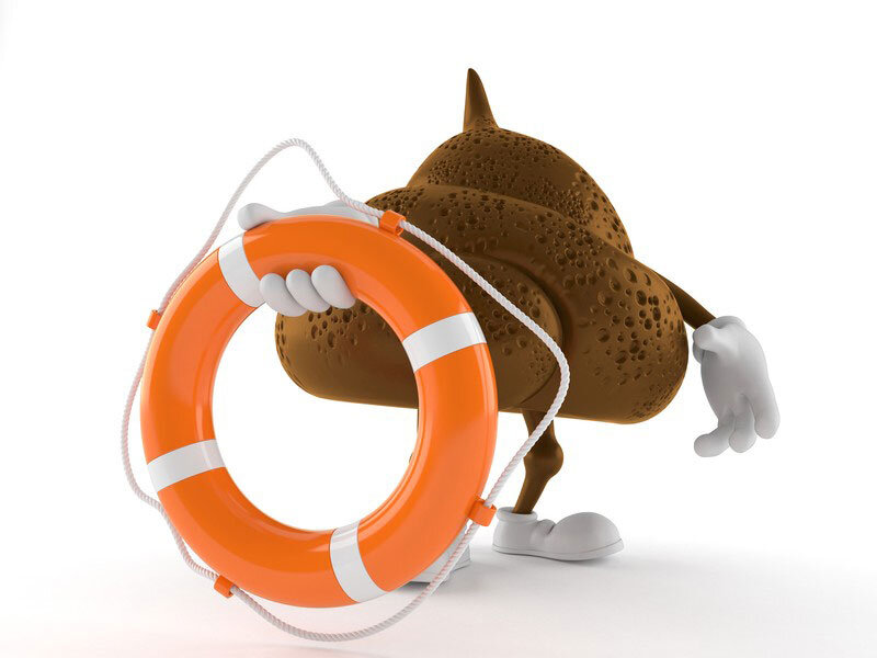 Poop Cartoon with Life Preserver